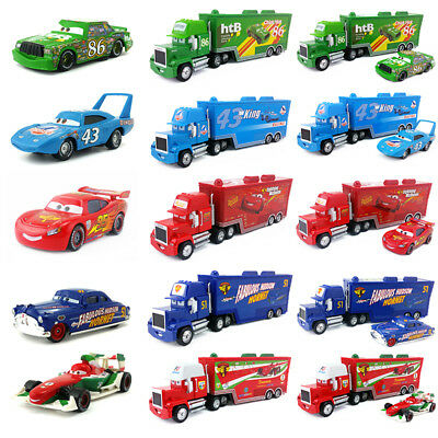 Disney Pixar Cars Mack Racer's Hauler Truck & Racers Metal Toy Car 1:55 Gift New