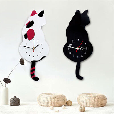 Wall Clock Cat Shape Wagging Tail Aluminum Pointer Cat Clock Durable Tail Cat FO