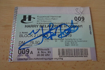 Harry Belafonte Autogramme signed Ticket Hannover 8.11.1995