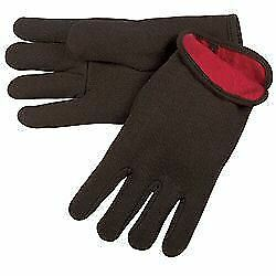 Memphis 7900 Red Fleece Lined Brown Jersey Gloves Mens LARGE (12 Pair)