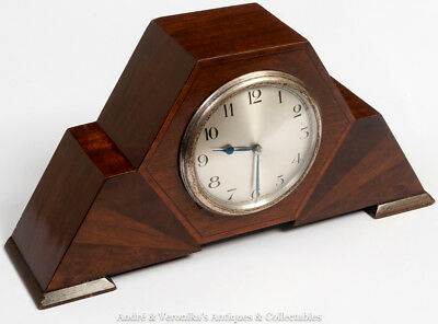 Vintage ART DECO MANTEL CLOCK, ABEC Platform Movement, 8 Day, Hexagon Mahogany