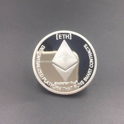 Silver Plated Commemorative Collectible Silver Iron ETH Ethereum Miner Coin Gift