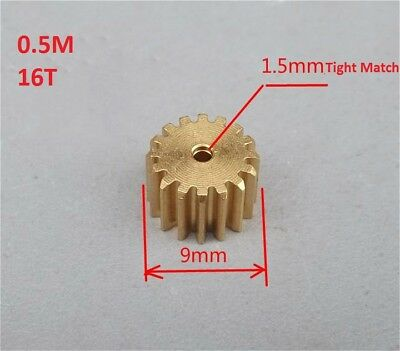 2PCS Brass Metal Gear 0.5M 16T for Motor Gearbox Spindle Gear Transmission