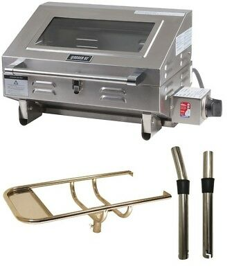 316 MARINE BBQ with Rod Holder Boat Camp Gas Barbeque Stainless Steel