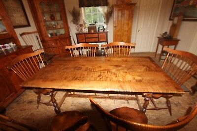 Table- Tiger Maple , Antique style Stretcher base - American Made Furniture