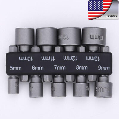 "9X 1/4"" Hex Screw Nut Driver Set Metric Socket Impact Drill Drilling Bits 5-13mm"