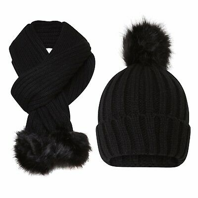 Women Girls Knitted Detachable Faux Fur Pom Pom Hat and Scarf Set gift