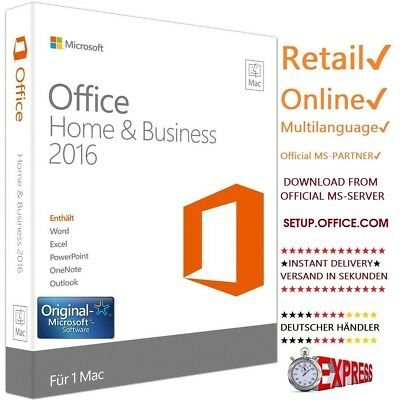 Microsoft Office 2016 Home & Business MAC ★ 1 MAC ★ Retail Key ✔ MULTILANGUAGE ✔