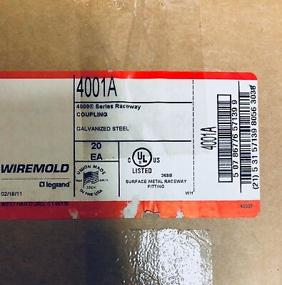 4001A Wiremold (BOX OF 5) 4000 Series Raceway Coupling (NEW)