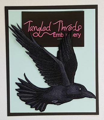 """Raven, Crow Flying, Bird Embroidered Patch 4.8""""x 5"""""""