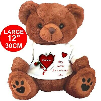 "PERSONALISED BROWN TEDDY BEAR 30cm/12"" MOTHER'S DAY BIRTHDAY MOTHERS DAY"