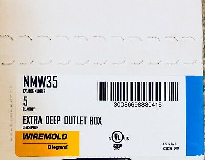 NMW35 Wiremold (BOX OF 5) Extra Deep Outlet Box (NEW)