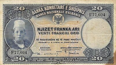 Albania  20  Franke Ari 1926  P 3a  Series F  Circulated Banknote NY1117S