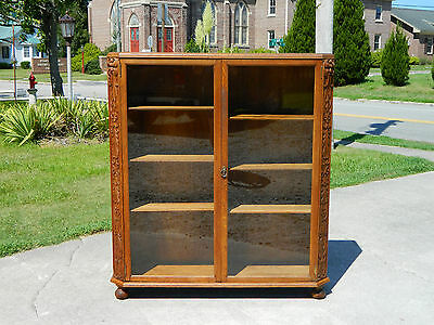Tiger Oak Adjustable Shelf Two Door Bookcase circa 1890