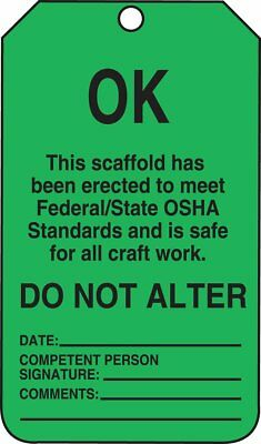Accuform TSS103CTP Scaffold Status Safety Tag  (25/pack)