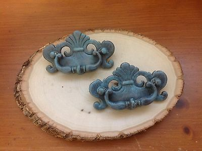 551 VTG French Provincial-Chippendale Handles Turquoise Wash,  Set Of 2