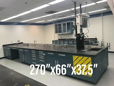 (Lot of 10) Laboratory Cabinets, Counters, and Hood