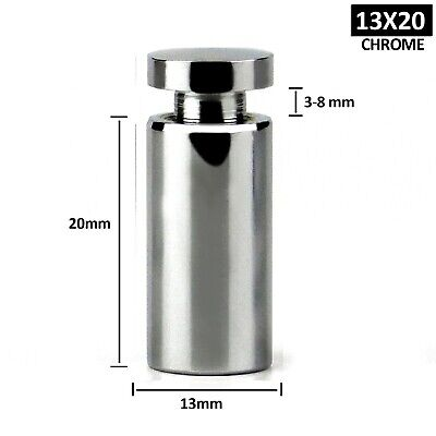 10x Stainless Steel Stand Off Fixings Glass Wall Sign Support Standoff 13X20mm