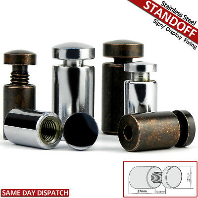Stand Off Fixings Stainless Steel Glass Sign Wall Support Standoff Pins 17X27 mm