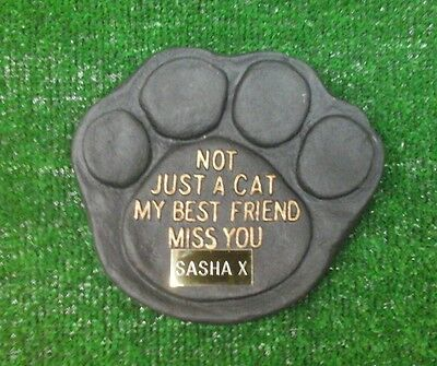 Cat Large Pet Memorial/headstone/stone/grave marker/memorial paw with plaque 15