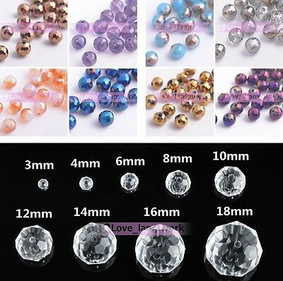 15/72Pcs 8X8mm 96 Faces Round Faceted Crystal Ball Loose Spacer Glass Beads DIY
