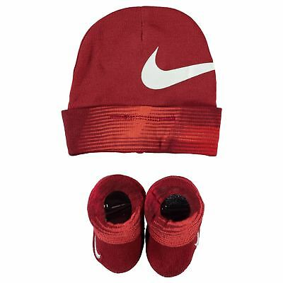 Nike Babies Hat & Booties Set Warps Red & White Boys Age 0 to 6 Months New