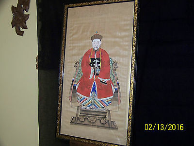 Chinese Qing Dy Hand Done Ancestor Portrait Painting on Silk