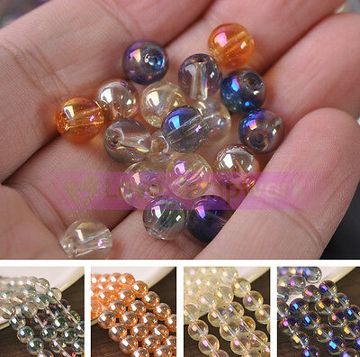 Wholesale Lot 8mm Transparent Plated Round Glass Loose Spacer Beads Jewelry DIY