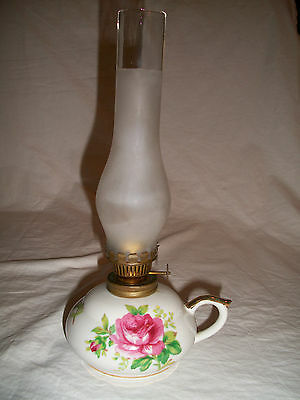 Oil lamp Norcrest Fine China Gold gilding Pink roses Tall opaque chimney