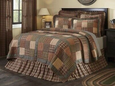 CROSSWOODS King Quilt Plaid Farmhouse Primitive Check Floral Patchwork VHC