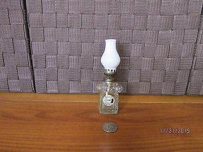 Miniature oil lamp decorative clear glass rotary phone figurine milk glass top
