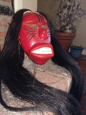 Old Native American Iroquois False Face Mask (Red)