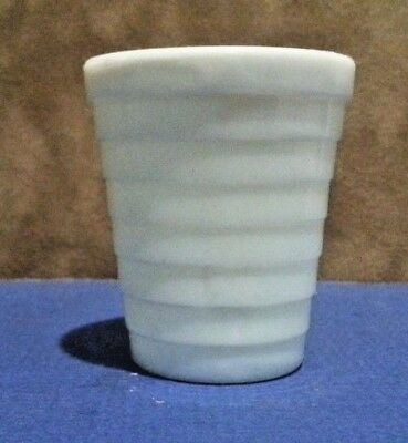 "Old Vintage Akro Agate Pale Blue Milk Glass Tiered 2"" Shot Glass Medicine Cup"