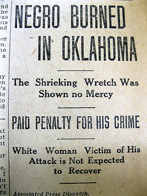 1911 El Paso TEXAS newspaper NEGRO MAN LYNCHED then BURNED  in PURCELL Oklahoma
