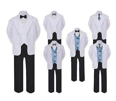 5-7pc Formal Black White Suit Set Dark Gray Bow Necktie Vest Boy Baby Sm-20 Teen