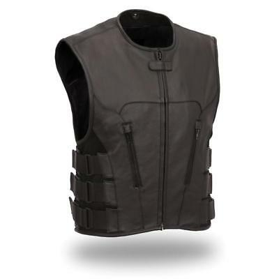 First Mfg Mens Commando SWAT Style Leather Motorcycle Vest Black S-8XL
