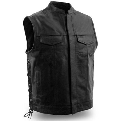 First Mfg Mens Sniper Leather Side Lace Motorcycle Vest S-5XL - Free Shipping
