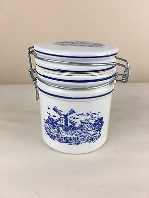 """Blue & White Windmill 5"""" Canister Jar with Locking Lid"""