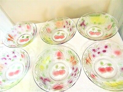 6 Pc Set Firna Indonesia Clear Embossed Multi-Colored Fruit Design Glass Bowls