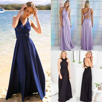 Women Fashion Gown Multi Worn Sexy Long Dresses Sleeveless Halter Convertible