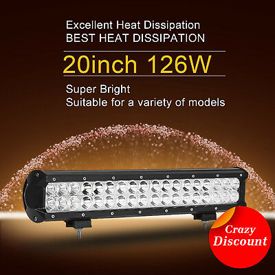 """20inch 126W CREE LED Work Light Bar Spot Flood Driving Lamp Offroad 4WD Truck20"""""""