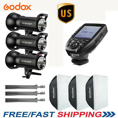 US 1200w 3X Godox SK400II 400W 2.4G HSS Studio Flash Light Kit + XPRON For Nikon