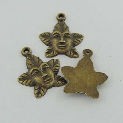39485 Vintage Bronze Alloy Flower Men Face Pendants Jewelry 23*20*2mm 30pcs