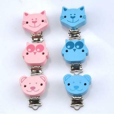 5pcs Baby Pacifier Clips cat/owl/Bear Wood Metal Holders Soother Clasps