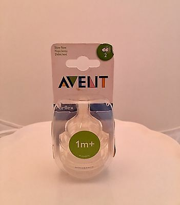 Avent Airflex Natural Slow Flow Silicone Nipples 2 Pack