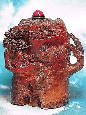 Beautiful Chinese carved Shoushan Stone Snuff Bottle-People and Mountain Scenery