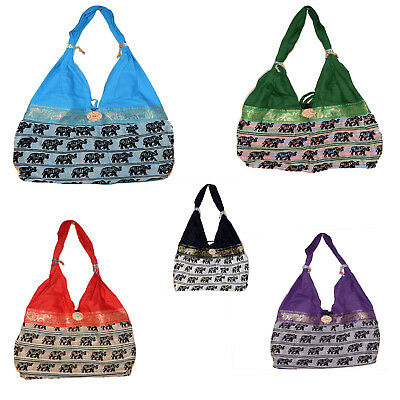 WHOLE SALE 5PCS INDIAN HANDMADE khadi HAND BAGS ELEPHANT PRINT WOMEN SHOULDERBAG