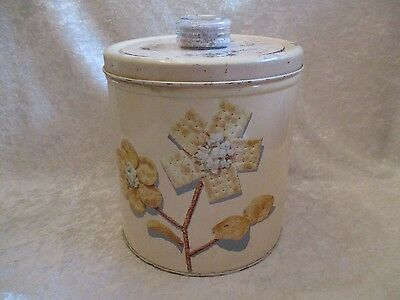 Vintage 1949 Pink Blue Magic Krispy Kan Cookie/Cracker Canister Jar