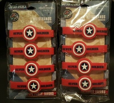 New Lot of 8 Captain America Hallmark Party Favor Wristbands Bracelets Marvel