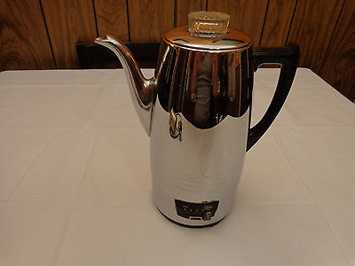 Vintage Mid Century Universal Coffeematic Chrome Percolator Coffee Pot 4408
